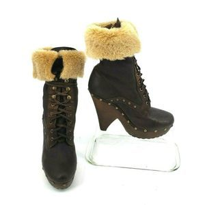 Winsford Boots Brown Lace-up Shearling Cuffs Clog